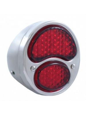A-13408-LR12  Complete Stainless Steel Tail Light with ALL RED L.E.D Lens- Left Side 12 volt