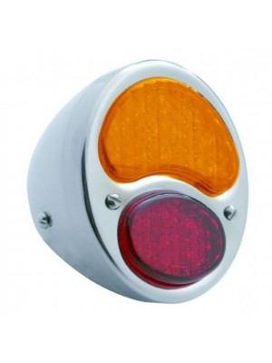 A-13408-LA12  Complete L.E.D Stainless Steel tail light with L.E.D.  RED and AMBER Lens- 12 Volt- Left Side