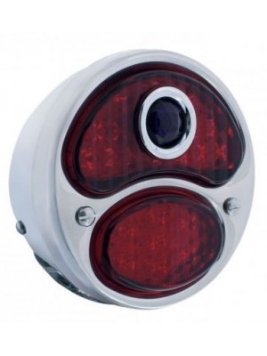 A-13408-BD12L  Complete 12 Volt Left Tail Light w/ L.E.D Lens - All Red w/ Blue Dot - 12 volt