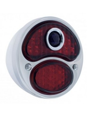 A-13408-BD12R  Complete 12 Volt Right Tail Light w/ L.E.D Lens - All Red w/ Blue Dot - 12 volt