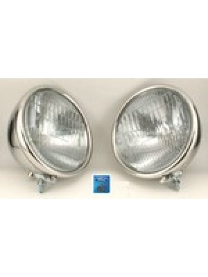 A-13000-S  Headlights 1 Bulb Stainless Steel Pair 1928-29