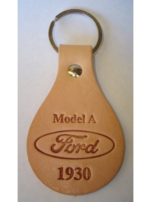 A-18574-C - Key chain - Oval Tanned Genuine Leather Model A Ford Script 1930