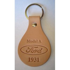 A-18574-D -Key chain - Oval Tanned Genuine Leather Model A Ford Script 1931